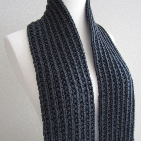 Stormy Gray Hand Knit Scarf
