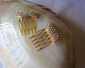 Golden sparkling  wedding combs x 2 free shipping