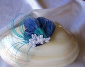Something Blue peacock feather and lace fascinator