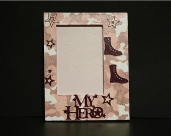 My Hero Military pink picture frame