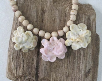 Lampworked Pink and Ivory Chrysanthemum Glass Bead Necklace with Sea Urchin Shell Beads and Matching Earrings