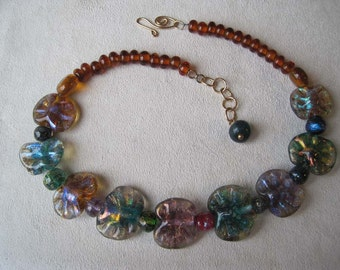 Lampworked Dichroic Glass Bead Necklace,  Beads With Autumn Rich Colors, Glass Jewelry, OOAK, Handmade Bead Necklace