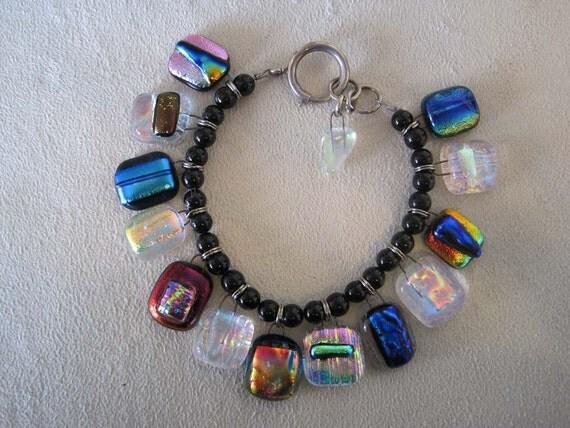 Fused Dichroic Colorful Charm Bracelet With Black Onyx Beads, Statement Bracelet, OOAK Bracelet, Handmade Bracelet, Charm Bracelet