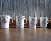 Vintage P&R Designs Bone China-Set of 4 Cat Mugs