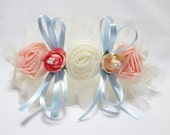 Sweet Rose Garter with Blue Bow unique wedding bridal garter