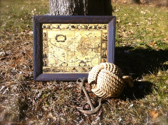 """Vintage Frame with """"The World in 1635"""" Map"""