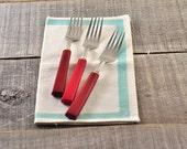 3 Red Bakelite Forks - Vintage Flatware