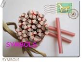 M-22 Cute Pink Strawberry Cake Polymer Clay Cane Nail Art Decoration 5pcs