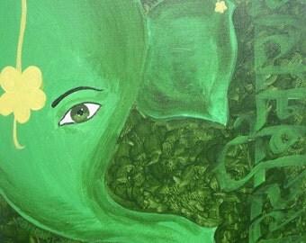 the Green Ganesha - calligraphic painting
