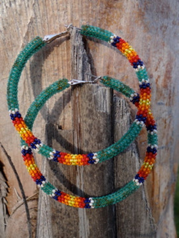 Large Beaded Hoop Earrings Native American Made