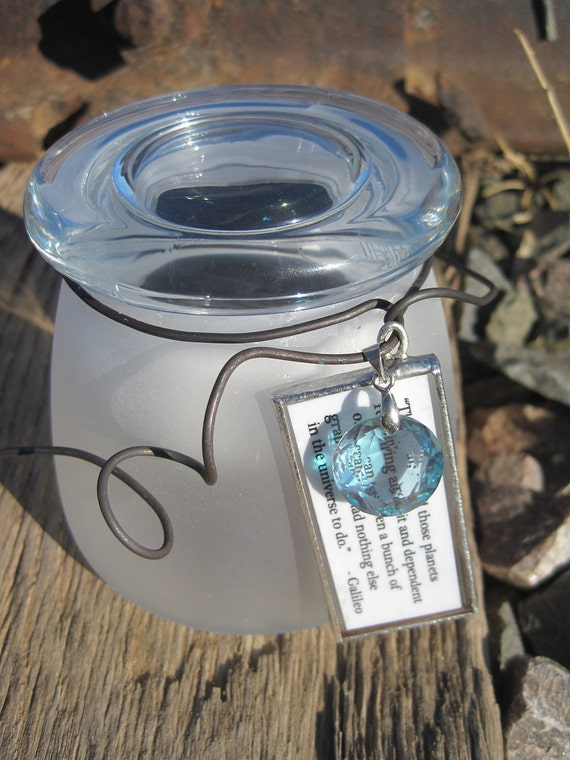 Small Sun Jar with aqua crystal pendant and Galileo quote in lead and glass