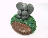 Polymer Clay Elephant Sculpture, Miniature Handmade Animal Figurine Scene