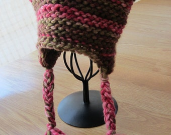 Knit Earflap Hat- Ready to Ship