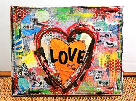 Love Scripture Valentine Word Art - 10x8 Mixed Media Canvas