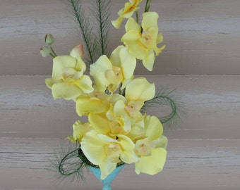 Yellow Silk Moth Orchids Shabby Chic Aqua Stand