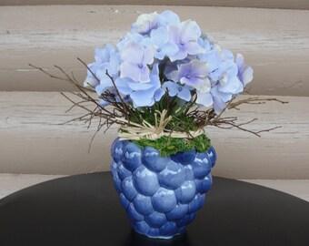 Floral Lavender Silk Hydrangea in Purple Grape Vase