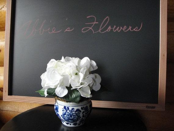 White Silk Hydrangea Arranged in Blue & White Vase