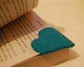 Teal Heart Felt Bookmark
