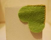 Light Green Heart Felt Bookmark