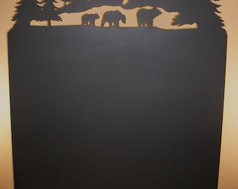 Bear and Mountain Scene Wood Stove Heat Shield