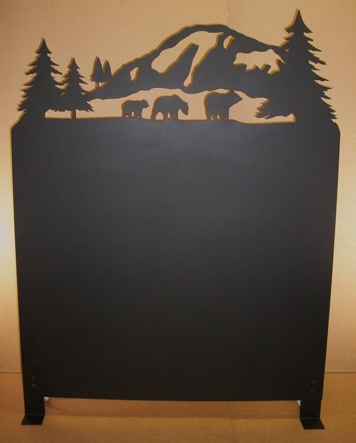 Like this item? - Bear And Mountain Scene Wood Stove Heat Shield