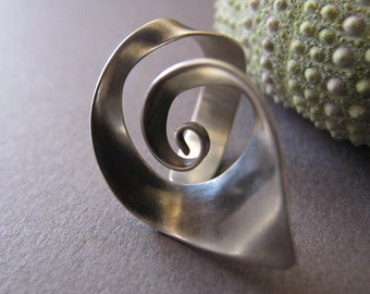 Adjustable Spiral silver ring, Open Spiral silver ring