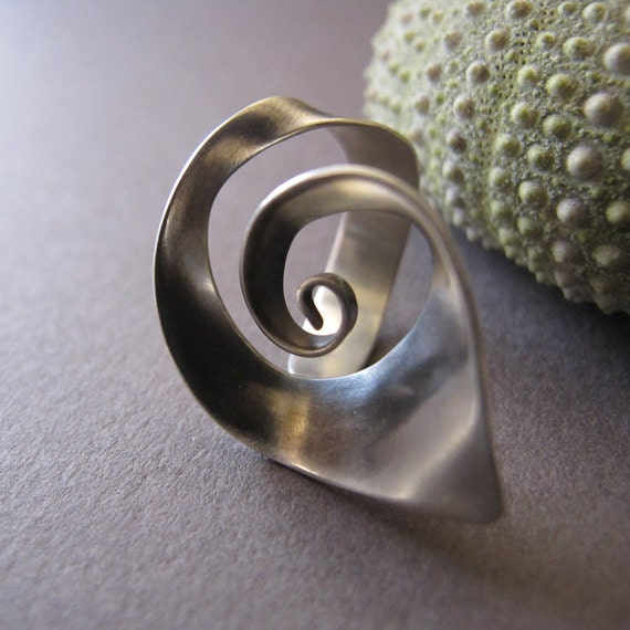 READY TO SHIP: Adjustable Spiral Silver Ring - Handmade