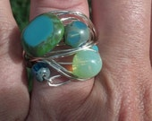 ocean tidepool silver wrapped ring 7 US Czech glass cathedral luminous bubble turquoise