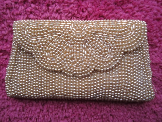 small miranda made in japan pearl beaded clutch