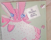 ON SALE A Very Cute Pink and White 40's Apron  adorns this Birthday Card For Mom