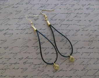 Gold, Dangling, Black Leather Earrings