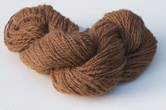 Hand Spun Camel Brown Superfine Alpaca Two Ply Yarn.       2.5 ounces
