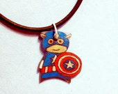 Hand Drawn Captain America Charm Necklace