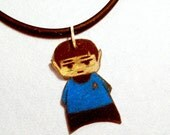 Hand Drawn Star Trek Charm Necklace Featuring Spock