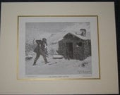 """1918 Original (black & white) Reproduction """"An Unwelcome Visitor"""" by a painting by Robert Lindneux NO FRAME"""