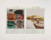 Father's Day Card - Postcard Set - Photography Postcards - Post Card Set - 4 Postcards - Vintage Camping Gear Photo, Boy in Canoe Fishing