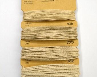 Hemp Cord, Natural Assorted, 10lb, 20lb, 36lb, 48lb, Bead Cord, Hemp Thread, Colored Hemp Twine