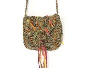 Handknit Green Fringe Hippie Bag // Small Crossbody Pouch