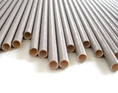 25 Solid Grey Paper Straws