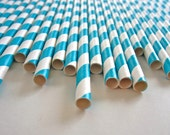50 Extra Long Teal And White Striped Paper Straws