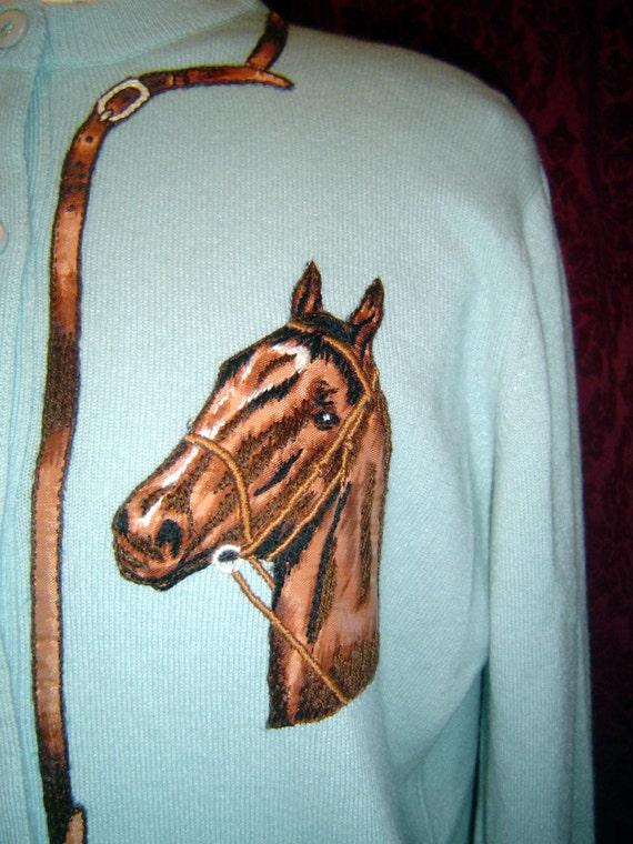 sky blue vintage Dalton cashmere equestrian horse and bridle cardigan rockabilly sweater