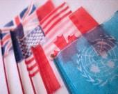 Set of five wood & silk flags