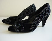 SALE 1980s Black Pumps, Vintage Beaded Velvet J Renee Shoes