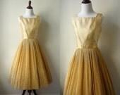 RESERVED 1950s Gold Dress, Vintage Shimmer Party Dress