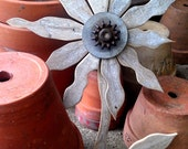 Reclaimed Wood Flower Rustic Wall Decor Rusty Metal Folk Art Garden Art Industrial