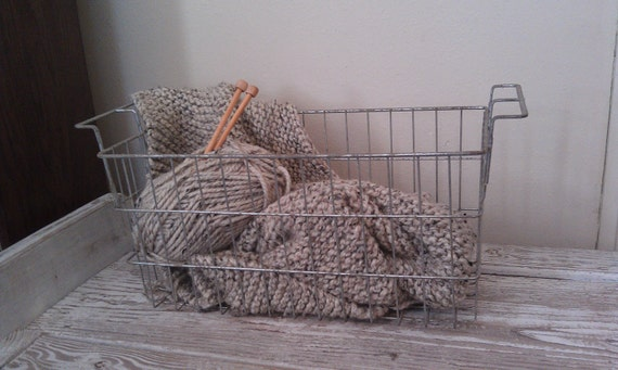 Vintage Wire Basket Locker Basket Galvanized Industrial