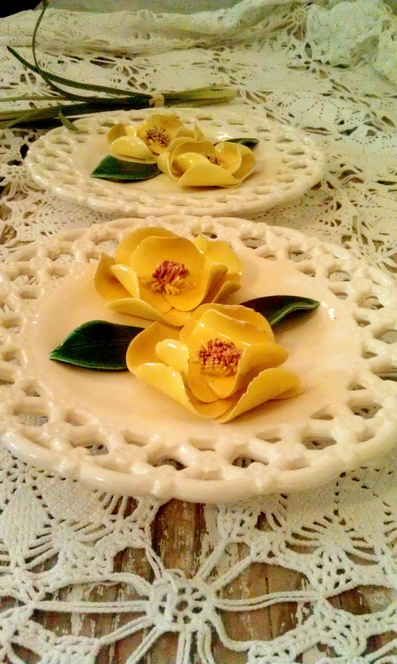 Pair of Vintage Ceramic Wall Hangings Floral