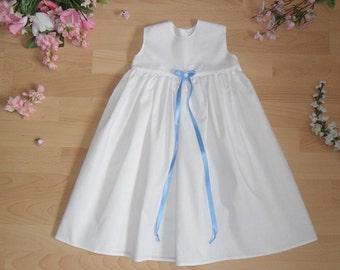 White Christening Gown satin bow, sleeveless, 100% cotton, various Satincolor / sizes
