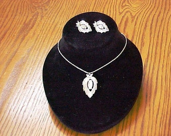 Vintage Sarah Coventry Crystal Navette Necklace & Earrings Set