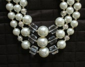 Vintage Inspired Pearl and Crystal Necklace